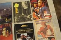 1 BOOK-PITTSBURG STEELERS, 6 MAGAZINES-HOCKEY