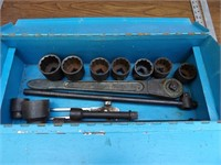 steel toolbox w/mixed sockets, wrenches