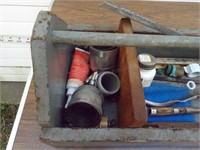 Wooden tool box w/ trowels