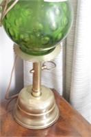 Green glass brass lamp
