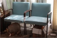 pair of blue chairs