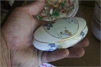 Lighthouse oil lamp, Rose top dish (marked