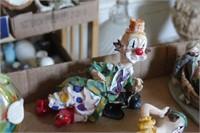 Clown figurines 4pcs glass clown, & more