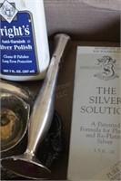 silver-plate bud vase, Cream & Sugar w/ tray
