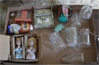 Glass canisters &figurines