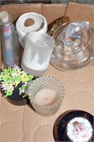 Small covered dishes & glass
