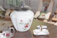 Covered dish, & small porcelain dishes