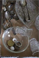 Sterling pickle fork, spoons & clear glass