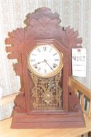 wooden pendulum clock w/ glass front