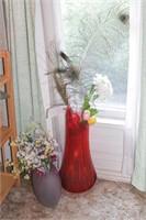 Art Glass Vases & silk flowers