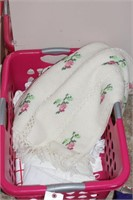 Floral knitted afghan, sheets & laundry basket