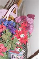 Silk Flowers & pink basket
