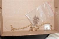 Men's gold bracelet marked 14k, earrings, &