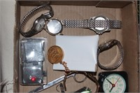 Watches, brass bracelet, Scissors...