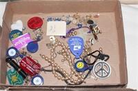 Key chains, pins, ear rings,  etc