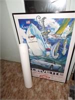 Framed Corvette Poster & Windbreaker