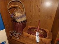 7 Small Baskets & Wood Toy Wagon