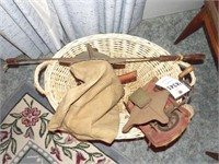 Large Wicker Basket W/ 2 Vintage Broadcast