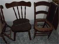 2 Vintage Chairs, 1 Flat seat, 1 Cane Seat
