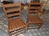 2 Wood Slat Seat Chairs