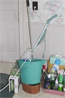 Household cleaning supplies, brooms, cleaners etc