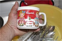 Campbell's soup cup, silverware & platter