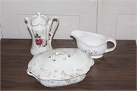 covered dish, gravy boat & pitcher