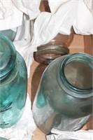 Blue glass bail top jars