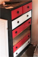 cardboard chest of drawers & contents