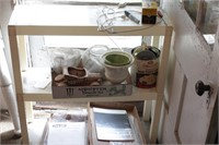 plastic shelf & contents