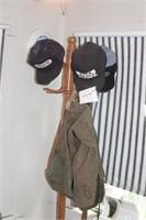 army bag, coat rack & on strike hat