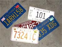 4 Vintage License Plates