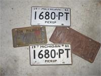 4 Vintage Truck License Plates