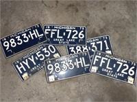 6 Vintage Michigan License Plates