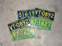 5 Vintage michigan License Plates