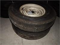 Pair of U.S. General Tires - 8.45-14 on Wheels