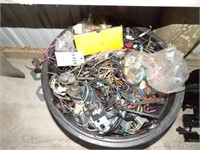 Plastic Tub of Auto Electrical Lights & Wire