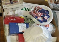 Box  lot -  napkins, plastic silverware, paper