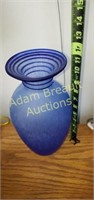 Decorative 11.5 inch Blue Glass flower vase