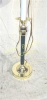 29 in brass forest green tall table lamp