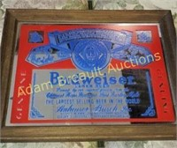 Budweiser lager beer mirror, 10.5 x 13.5