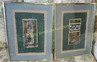 2 gold frame decorative matted wall prints