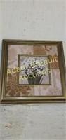 Modern ornate framed daffodil wall print, 19.5 x