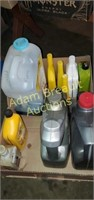 Box assorted oil, lubricants, gas line antifreeze