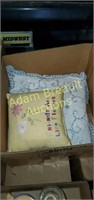 Box lot - 2 Afghans and 3 throw pillows