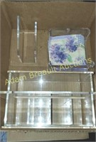 3 piece acrylic silverware and napkin holders