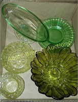 6 pieces vintage green depression & glassware