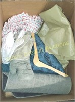 Box lot - rugs, tablecloths,  oven mitts, etc