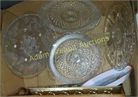 Box lot - glass, wood, plastic serving trays and