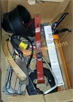 Caulk guns, fish tape, coping saw, pry bar, limb